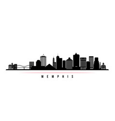 memphis skyline horizontal banner black and white vector image