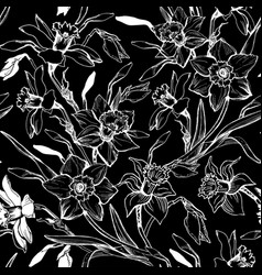 monochrome graphic seamless pattern with hand vector image