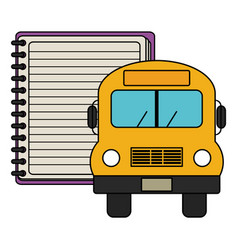 notebook school supply with bus vector image
