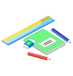 notepad and office stationery isometric vector image