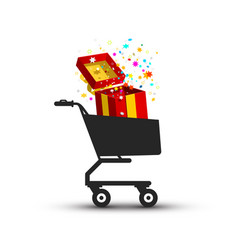 open gift box confetti in shopping cart vector image