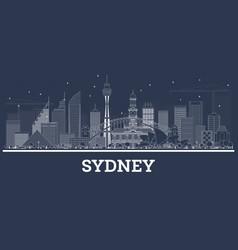 Outline sydney australia skyline with white vector