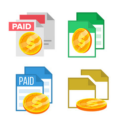 paid receipte document file and coin set vector image
