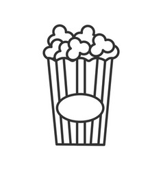 Paper glass with popcorn linear ico vector