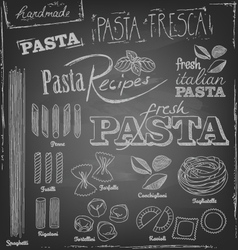 Pasta and chalk typography on a chalkboard vector
