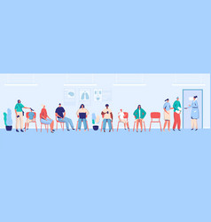 patients waiting in clinic people in hospital vector image
