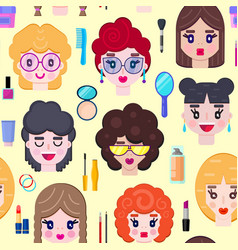 pattern with girls faces vector image