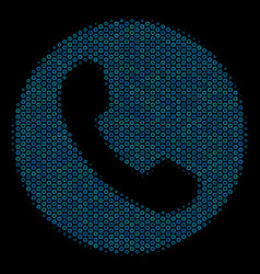 Phone number composition icon of halftone bubbles vector