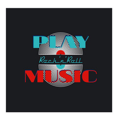 Play rock and roll music typographic vector