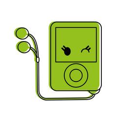 portable music player kawaii style icon image vector image
