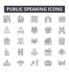 public speaking line icons signs set vector image
