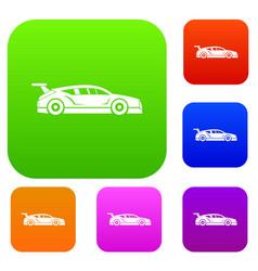 rally racing car set collection vector image