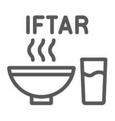 ramadan iftar line icon food and arabian meal vector image