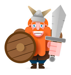 red-bearded viking with shield and axe smiling vector image