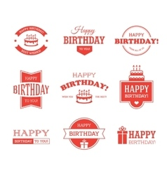 Red Birthday Labels Set vector image vector image