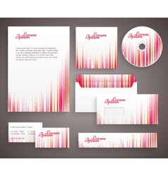 Red corporate identity template with vertical vector