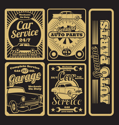 Retro car service and garage labels design vector