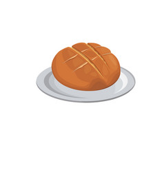 Round bread wheat baked breakfast icon vector