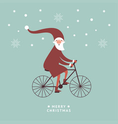 santa is going bicycle greeting card vector image