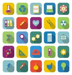 Science color icons with long shadow vector