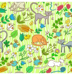 seamless with cats vector image