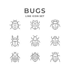 Set line icons bugs vector