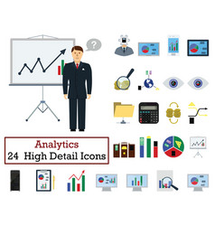 set of 24 analytics icons vector image