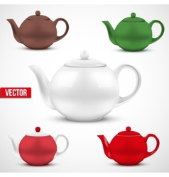 Set of colorful ceramic teapot vector