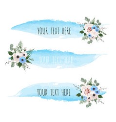 set of watercolor brush lines with flowers vector image