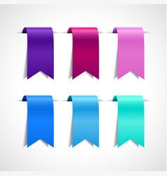 set purple blue decorative ribbon vector image