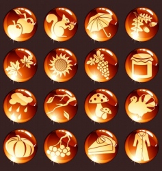 set red autumn icons vector image