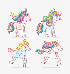 Set unicorns animal with hairstyle and horn vector