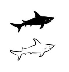 shark design on white background easy editable vector image