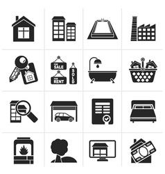 Silhouette Real Estate objects and Icons vector