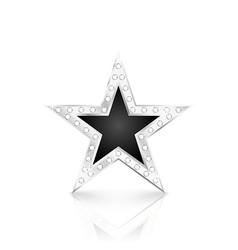 silver star with diamonds on white background vector image