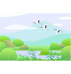Simple spring lanscape with flying japanese cranes vector