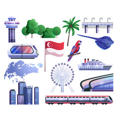 singapore cartoon icons set vector image