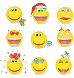 smiley set holiday vector image vector image
