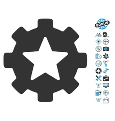 Star Favorites Options Gear Icon With Copter Tools vector