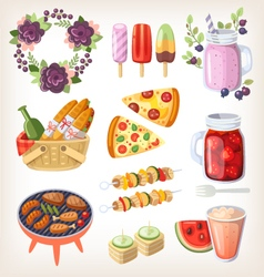 Summer food and recreation elements vector