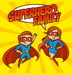 superhero family superheroes cartoon character vector image