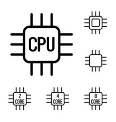 Thin line cpu processor icons set vector
