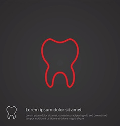 tooth outline symbol red on dark background logo vector image