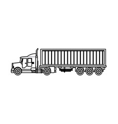 truck cargo container trailer outline vector image