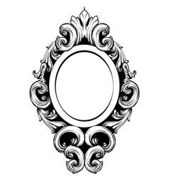 Vintage mirror frame baroque rich design vector
