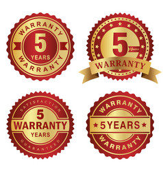 warranty labels 5 years vector image