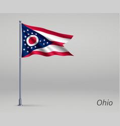 Waving flag ohio - state united states vector