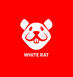 white funny rat muzzle on a red background front vector image
