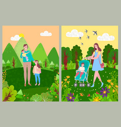 Woman with children walking in forest or park vector
