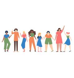 women diverse female group empowerment girls vector image
